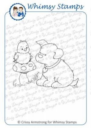"""Whimsy Stamps/C. Armstrong """"Puppy's New Friend"""" Rubber Stamp. The Crissy Armstrong Collection for Whimsy Stamps. Deeply etched rubber mounted on cling cushion foam, untrimmed. Approximate size: 3"""" x 2.2""""."""