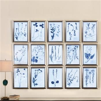 Bria Modern Classic Blue Floral Botanical Prints - Set of 15