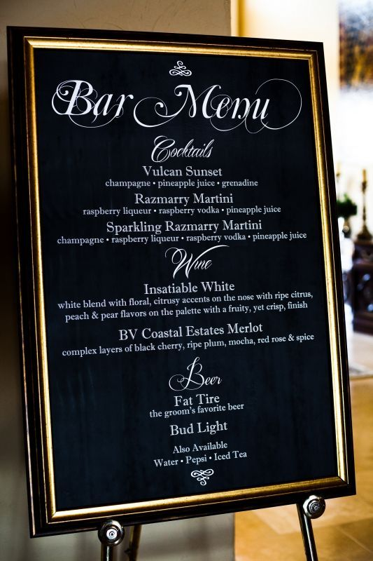 Diy Chalboard Bar Cocktail Menu  Wedding Bar Black Chalkboard