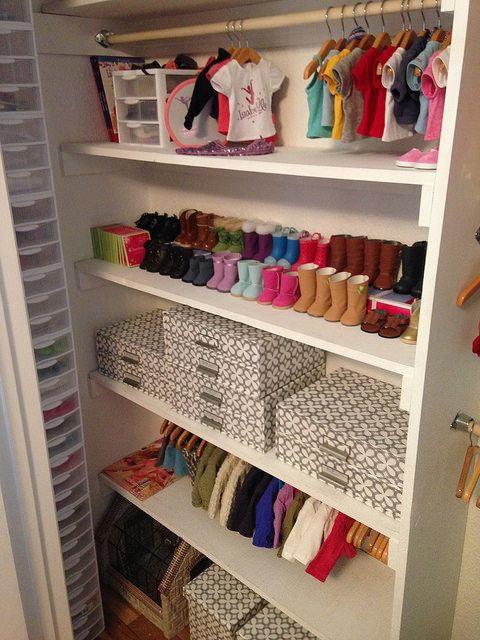 Just inside the closet on the Left- see Giant Stack of mini plastic drawers (by Sterilite), the dimensions of the three drawer chests are 8 1/2 x 7 1/4 by 6 7/8 inches, each individual drawer fits on average one outfit, posted by Poppets & Posies: Storage Solutions!: