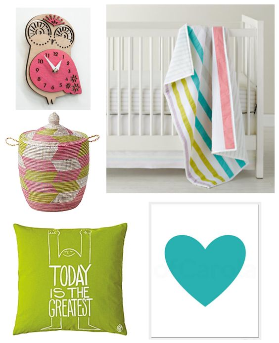 Nursery decor inspired by sherbet striped crib bedding from Land of Nod - featuring pink, lime and turquoise. Lavendar could be added and gray walls would be perfection.