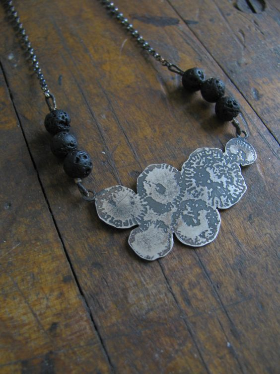 Silver and lava fossil-etched necklace  Mairi Collins Jewellery