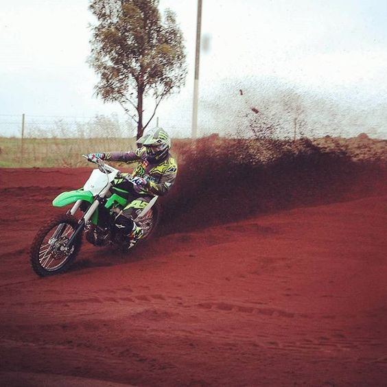@jakemoss06 our KX250F rider for the factory National Pump Monster Energy Kawasaki Racing Team tearing it up on our all new 2017 KX250F during the official Australian Media Launch at @rideparkvic in Victoria today. @monsterenergy @hitachipowertoolsaus @bellpowersportsaustralia @pirellimotoaus @teamnavy_ran @rockwellwatches_au @nationalpumpandenergy @alpinestarsaus