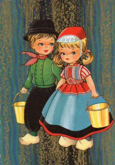70 postal Vintage niño holandés y de la muchacha por CuteEyeCatchers en Etsy