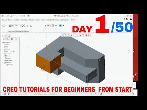 Creo 5 0 Tutorials For Beginners How To Use Extrude Command In Creo Day 1 Youtube Tutorial Beginners Book Pages