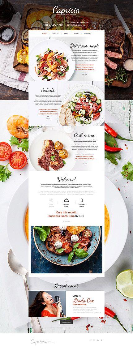 Sites web complets, webdesign templates graphiques Café et Restaurant. Chartes graphiques à télécharger sur Templarts.com