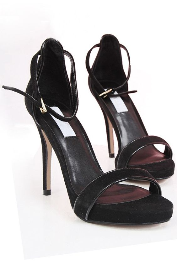 LUCLUC Black Open Toe Heeled Sandals