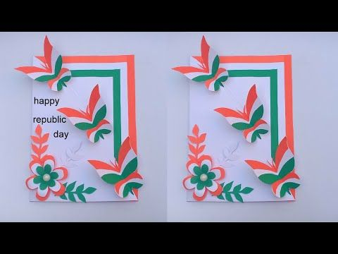 Republic Day Card Tricolor Butterfly Greeting Card Diy Art And Craft Craft In 5 Minute 26 January Y In 2021 Greeting Cards Diy Diy Arts And Crafts Greeting Card Art