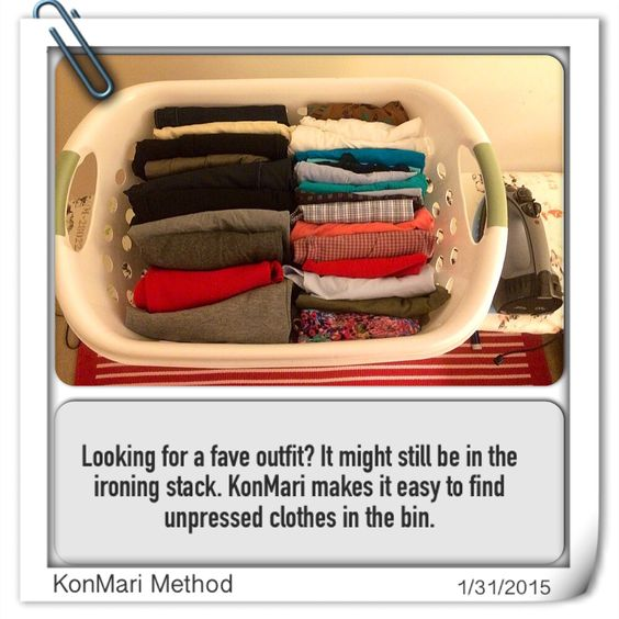 Konmari method unpressed ironing clothes bin konmari pinterest