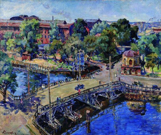 Осмеркин. Ленинград. Пейзаж с деревянным мостом. 1946