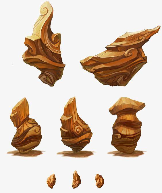 Cartoon Rock Stone 3d Yellow Stone Png Image Spark Art Game Concept Art Environment Concept Art