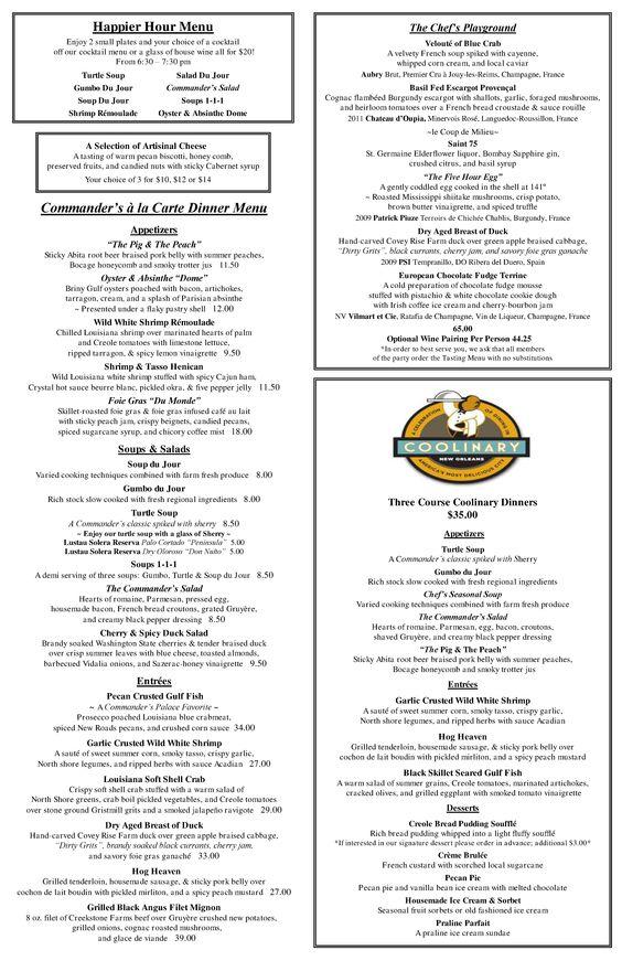 Commanderu0027s Palace Sample Dinner Menu Menus BABY!!! Pinterest - dinner menu