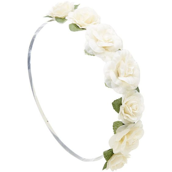 Blooming Rose Headwrap ($5.99) ❤ liked on Polyvore featuring accessories, hair accessories, hair, headband, flower crowns, cream, fake flower garland, head wrap headband, braided headband and artificial garland
