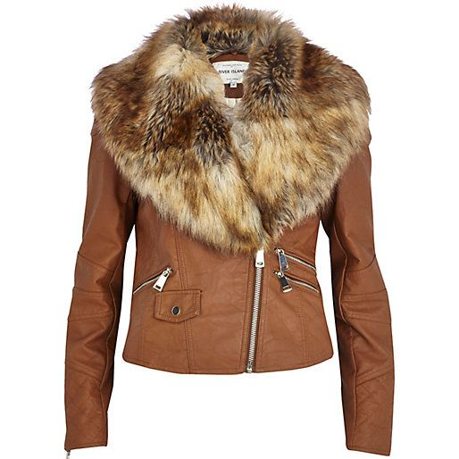 Brown Leather Jacket With Fur - My Jacket