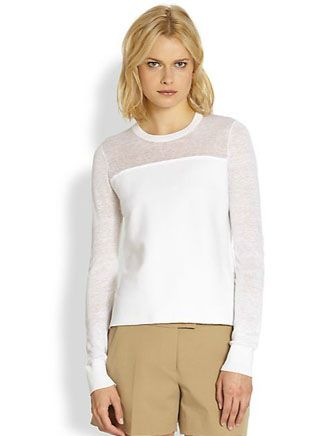 THEORY Ofenia Enchanted Sheer Burnout-Paneled Knit Top