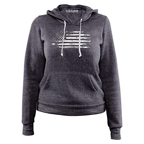 USAMM Ladies Distressed American Flag Fleece Boutique Style Pullover Hoodie