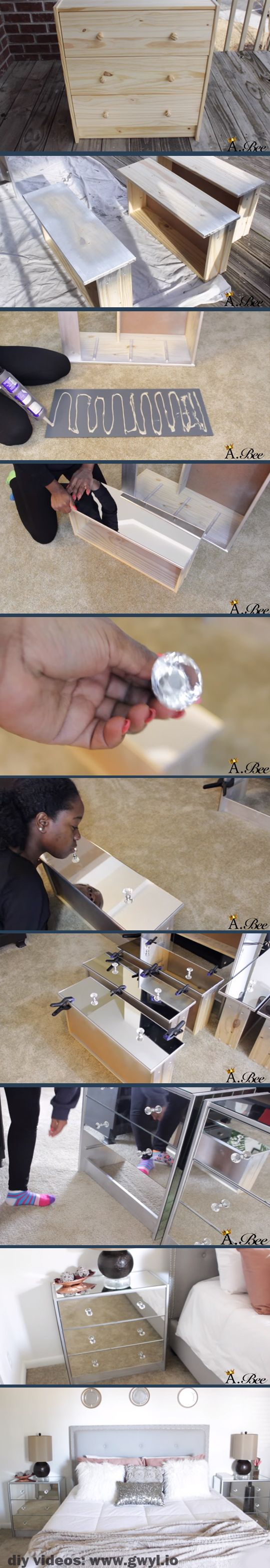 Here's another DIY that's super easy to do. Turn your new or old night stand or any cabinet into a fantastic looking furniture using frameless mirrors! | DIY Mirrored Nightstand | See video and written instructions here:  http://gwyl.io/diy-mirrored-nightstand/: