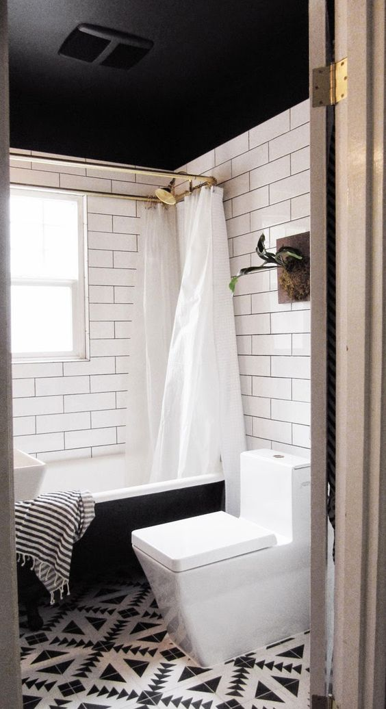 Bathroom makeovers bathroom and black ceiling on pinterest for Bathroom ceiling color