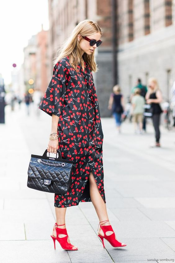 PATTERNS// #cherry #cherries #fruits #print #dress #classy #look #streetstyle