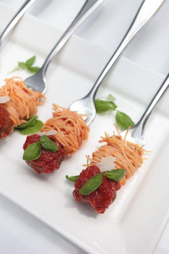 Spaghetti and meatballs clever presentation though not for Meatball canape