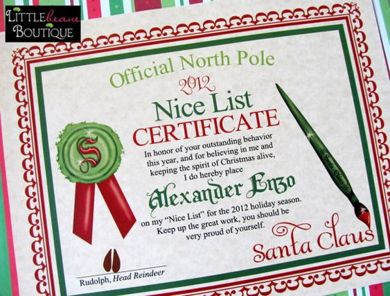 Printable santa39s nice list certificate diy by littlebeaneboutique 500 cute things for Diy certificates