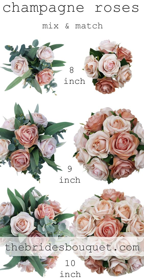 Champagne Blush Silk Wedding Flowers Small Rose Only Fake
