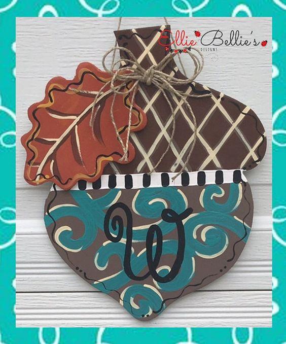 Mini Small Fall Monogram Acorn Door Hanger by EllieBelliesDesigns