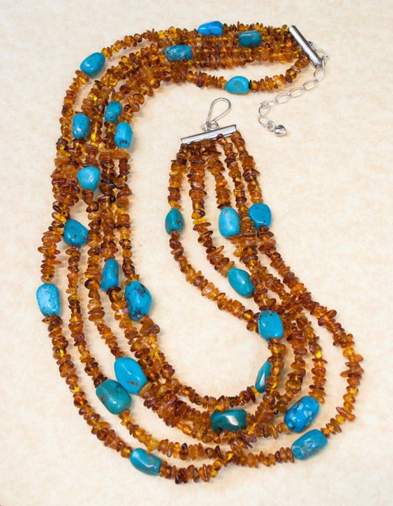 Vintage 5 Strand Turquoise and Amber Nugget by JewelryWanderlust, $295.00 - want