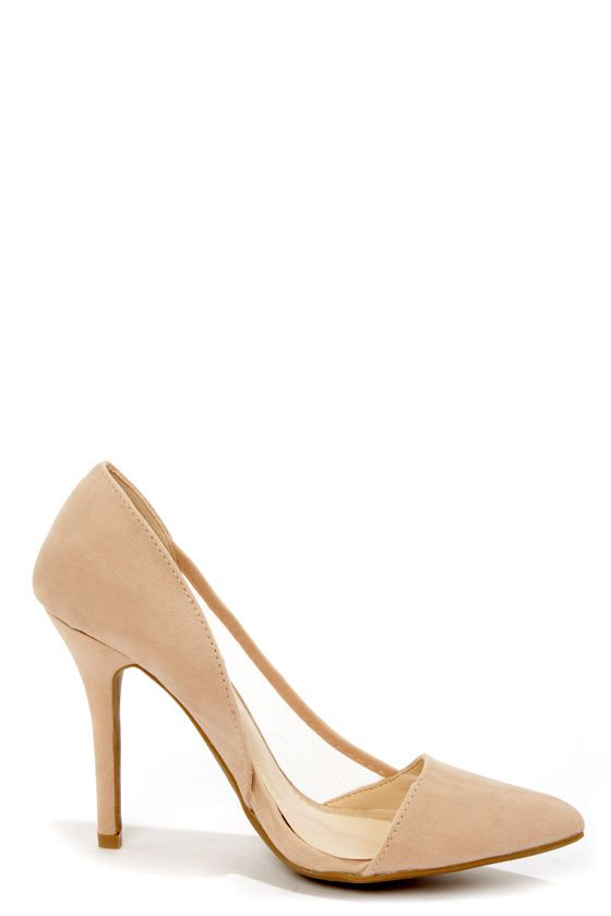 Anne Michelle Momentum 39 Nude Suede and Mesh D&39Orsay Heels | D
