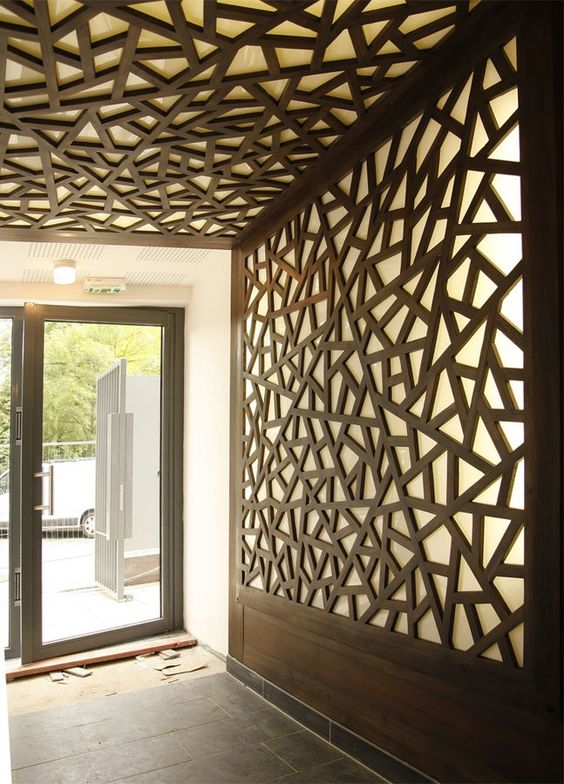 Modular Office Wall Design -Lazer Cut Areas With Light Coming