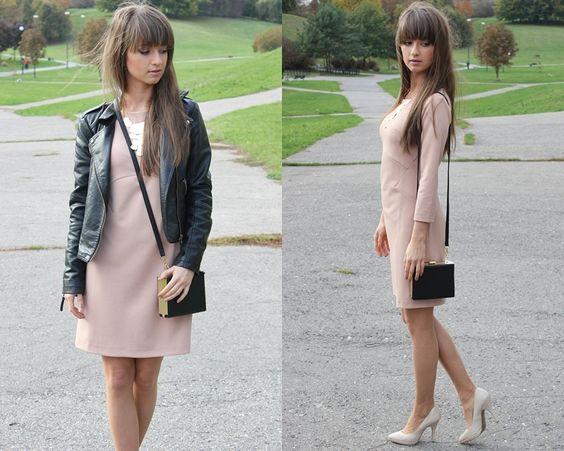 pink powder dress + leather