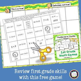 """Classroom Freebies: """"Thumbs Up!"""" for Starting the Year with a Math Review Game!"""