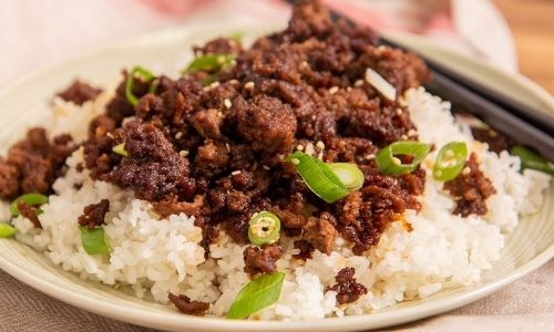 Korean Ground Beef And Rice Recipe Recipe Korean Ground Beef Beef And Rice Beef Recipes