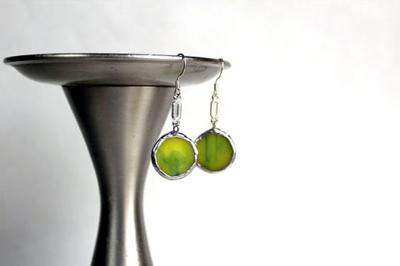 Little Green Dots Handmade Stained Glass Earrings  Wire by LAGlass