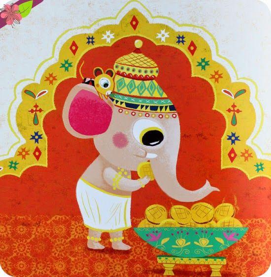 Ganesh le gourmand Texte de Véronique Massenot Illustrations de Peggy Nille Publié en 2014 par les éditions l'élan vert
