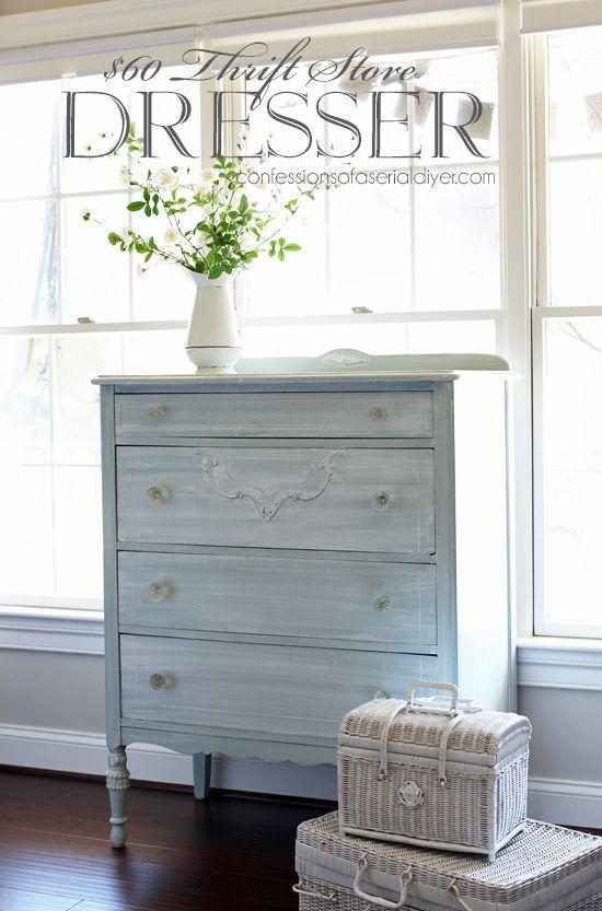 60 Thrift Store Dresser Makeover White Washed Furniture Blue Furniture Grey Bedroom Furniture