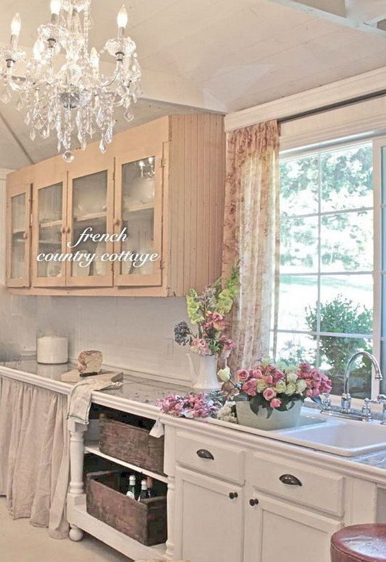 35 awesome shabby chic kitchen designs accessories and for French country cottage kitchen ideas