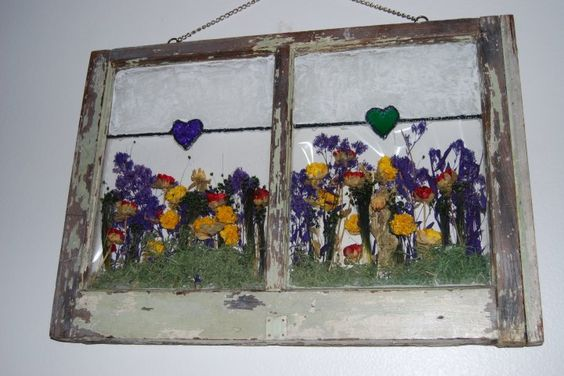 Window art with flowers