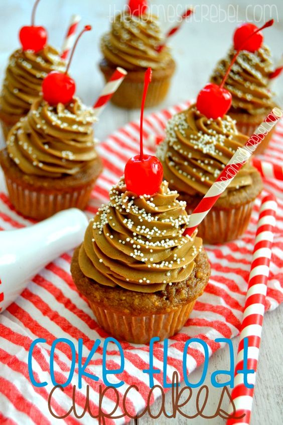 Coke Float Cupcakes -- these awesome cupcakes taste identical to frosty Coke floats! A perfect summertime cupcake!