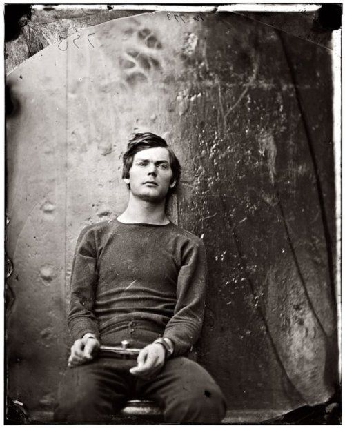 Assassin conspiracist Lewis Thornton Powell in irons, aboard the U.S. monitor Saugus, 1865. Powell attempted unsuccessfully to assassinate United States Secretary of State William H. Seward, and was one of four people hanged for the Lincoln assassination conspiracy.