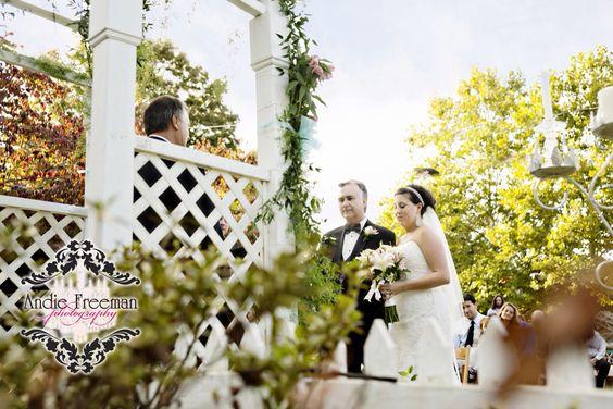Garden ceremony  | Industrial Fall wedding | Photography by  Andie Freeman Photography | www.TheAthensWeddingPhotographer.com |  Venue:  The Brickyard, Colbert, GA  |  Make-up by Bombshell Creations | www.BombshellCreations.com
