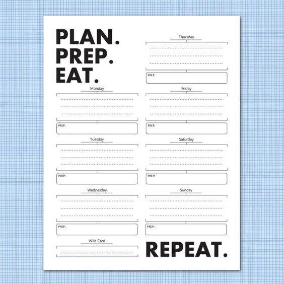 Weekly meal planner download: plan. prep. eat. repeat | Diáre a Jedlá