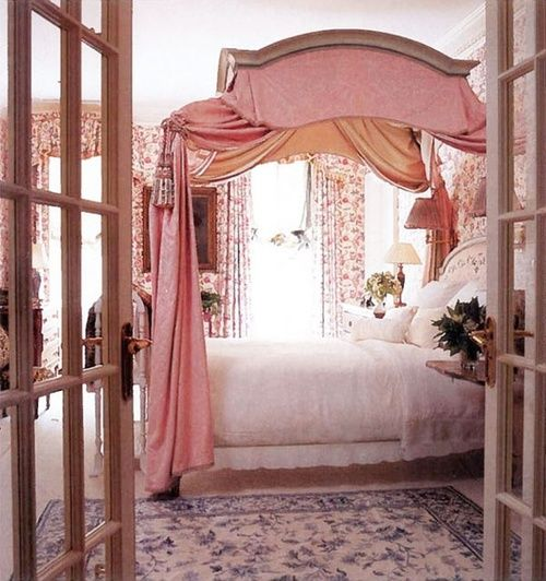 Bedroom canopy bed pink french doors interior Beautiful canopy beds