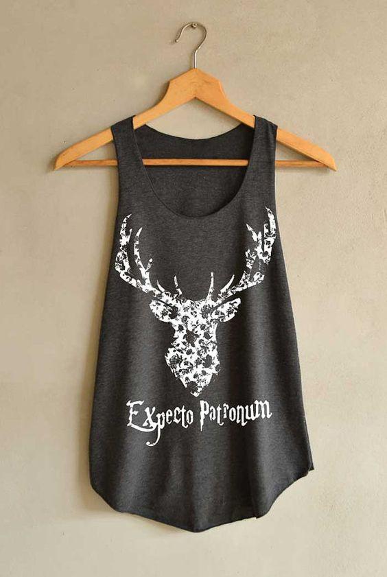 Ciervos Expecto Patronum Harry Potter hechizo camisa hechizo camisetas Tank Top mujeres tamaño S M L