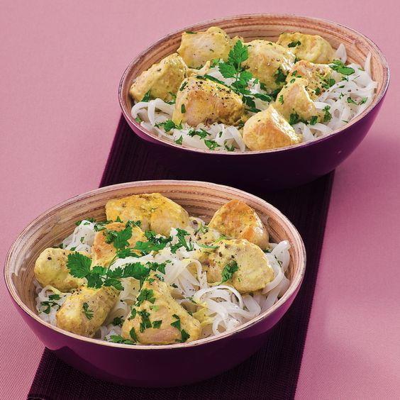 WeightWatchers.fr : recette Weight Watchers - Poulet au curry express et nouilles thaï