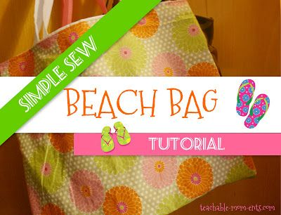 Simple Beach Bag Tutorial - step by step directions with photos.