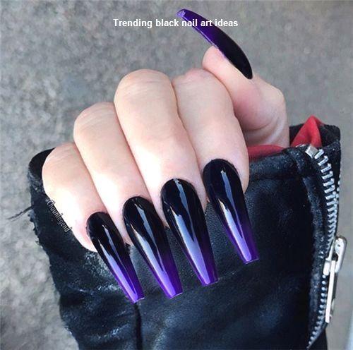 20 Simple Black Nail Art Design Ideas Naildesigns Nailartideas Purple Acrylic Nails Purple Ombre Nails Ombre Acrylic Nails