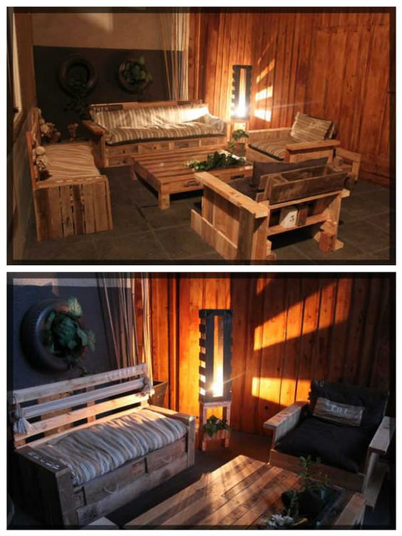 Cute Pallets Summer Corner  #palletbar #palletbench #palletsofa #pallettable #palletterrace #recyclingwoodpallets Sofa, armchairs, and a table planted with herbs. Everything was made from repurposed pallets. Perfect summer corner to have a rest or drink a glass wi...