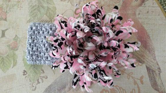 Gray Pink Camo Headband, Crochet Headband, Baby Headband, Girl Headband, Newborn Headband,Flower Headband, Headband, Free Shipping - pinned by pin4etsy.com