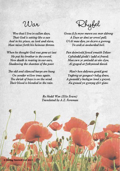 """Funeral Poem """"War"""" by Hedd Wyn Welsh poem with English translation"""